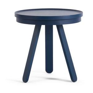Modrý odkladací stolík z jaseňového dreva s podnosom Woodendot Batea Small