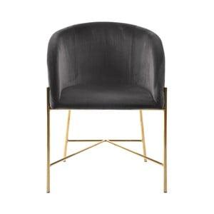 Tmavosivá stolička s nohami v zlatej farbe Interstil Nelson