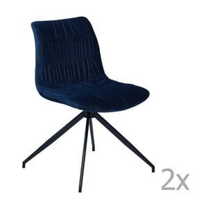 Sada 2 tmavomodrých jedálenských stoličiek DAN– FORM Dazz Velvet