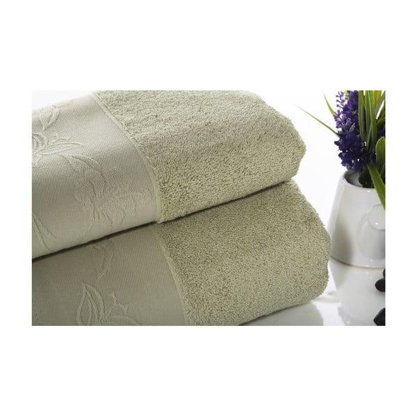 Set sivozelené bavlnené osušky a uteráku Ladik Eleanor