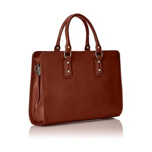 Hnedá kožená taška Chicca Borse Paola