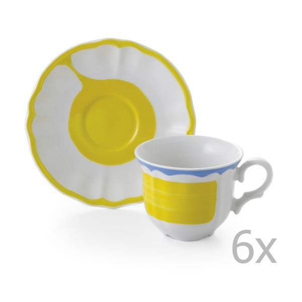 Sada 6 hrnčekov a 6 tanierikov Giotto Yellow