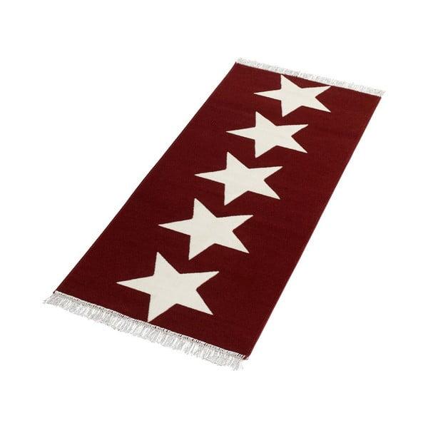 Koberec Fringe - červené hviezdy, 80x200cm