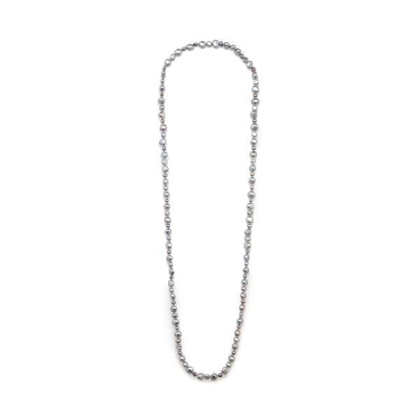 Svetlosivý perlový náhrdelník GemSeller Baroque
