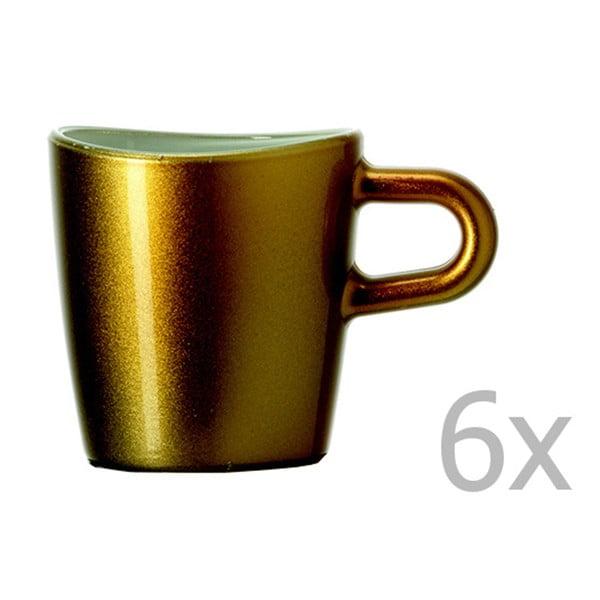 Sada 6 zlatých metalických hrnčekov na espresso LEONARDO Loop, 75 ml