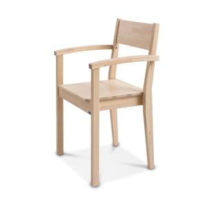 Ručne vyrobená stolička zmasívneho brezového dreva s opierkami Kiteen Joki
