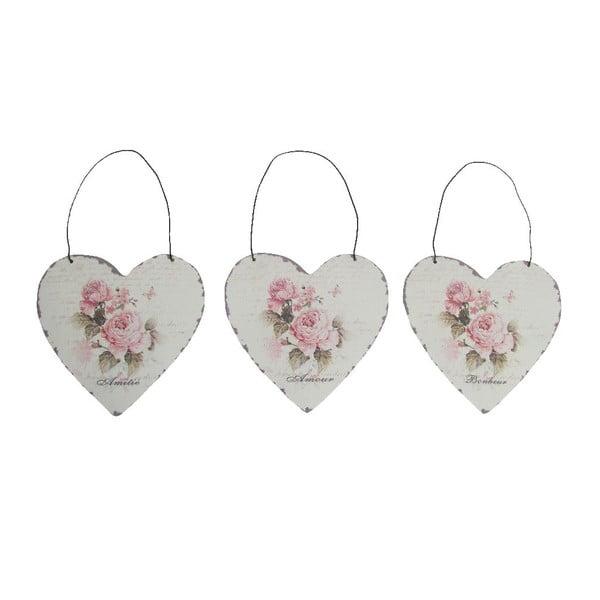 Set 3 dekoratívnych závesných sŕdc Antic Heart