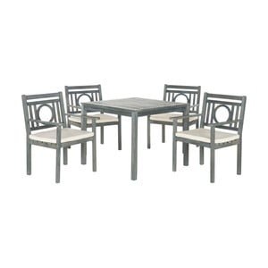 Sivý set dreveného záhradného stolíka a stoličiek Safavieh Malaga