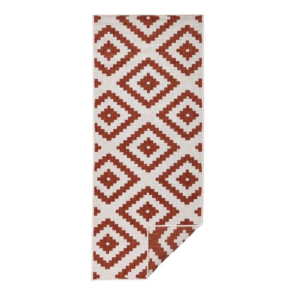 Červeno-krémový vonkajší koberec Bougari Malta, 80 x 350 cm