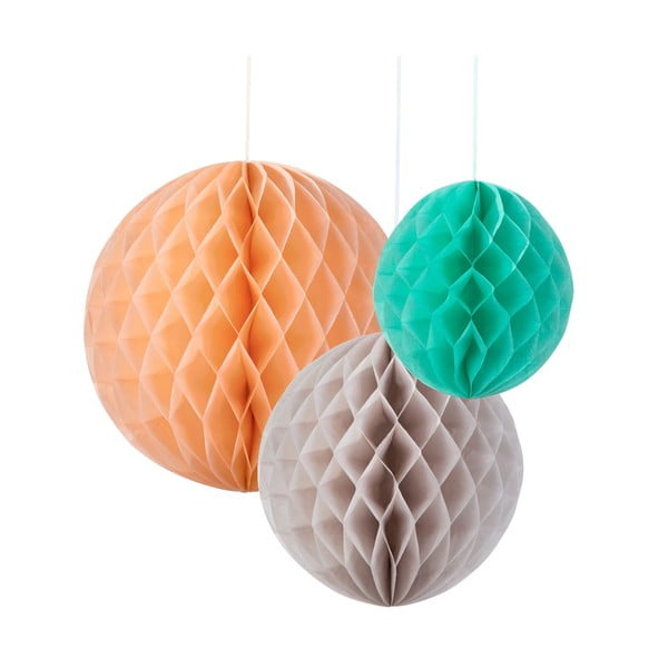 Papierová dekorácia Honeycomb Silk, 3 kusy