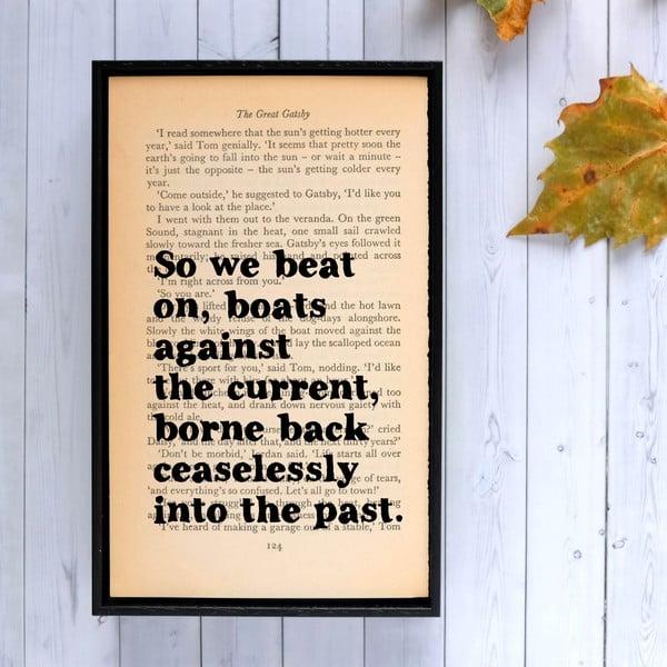 Plagát v drevenom ráme The Great Gatsby We Beat On