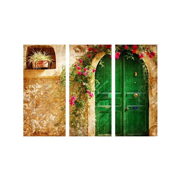 3-dielny obraz Zelené dvere
