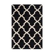 Čierny vlnený koberec Ava Black, 121×182 cm
