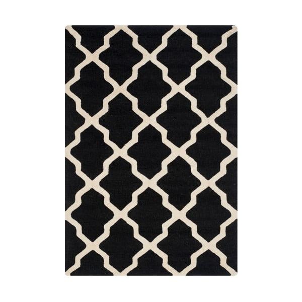 Vlnený koberec Ava Black, 121x182 cm