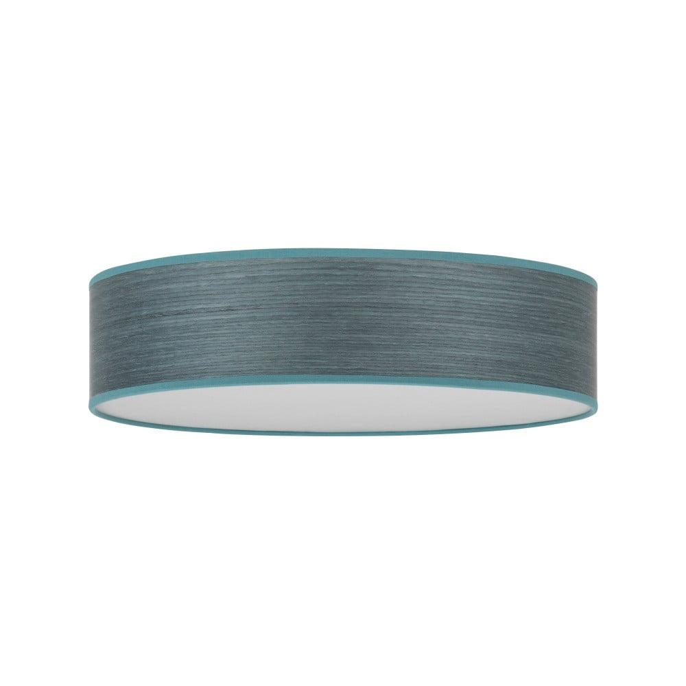 Modrosivé stropné svietidlo s tienidlom z prírodnej dyhy Bulb Attack Ocho, ⌀ 40 cm