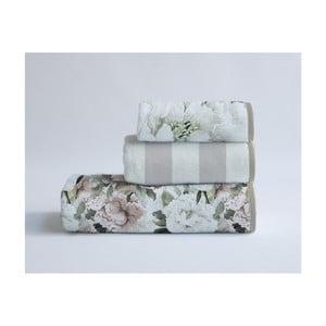 Sada 3 bavlnených uterákov Velvet Atelier Beige Flowers