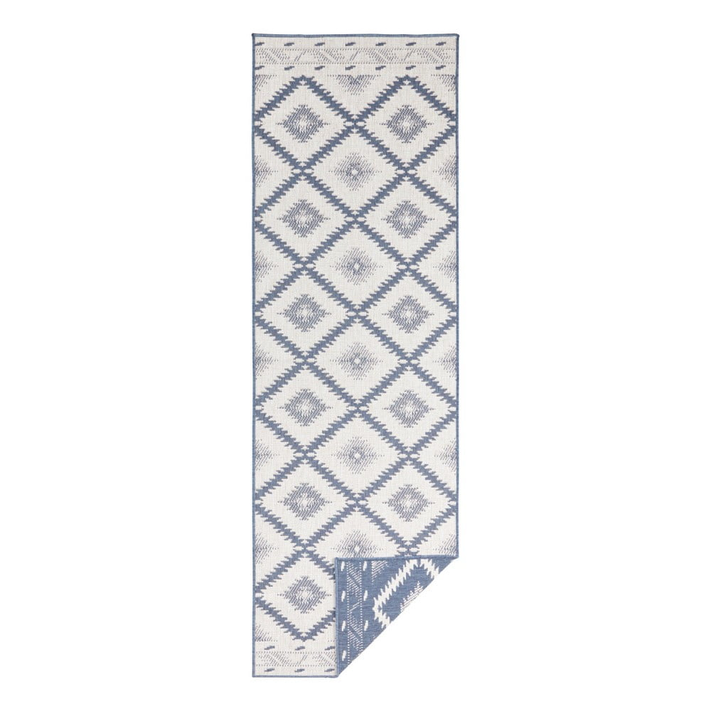 Modro-krémový vonkajší koberec Bougari Malibu, 80 x 250 cm