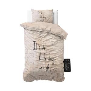 Béžové obliečky z mikroperkálu Sleeptime Little Things, 140 x 220 cm