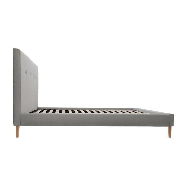 Sivá posteľ s tmavosivými gombíkmi a prírodnými nohami Vivonita Kent, 160 x 200 cm