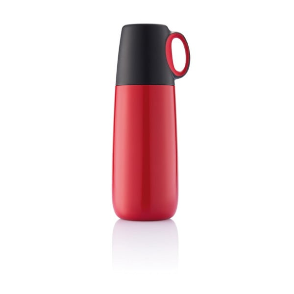 Červená termoska s hrnčekom XDDesign Bopp Hot, 600 ml
