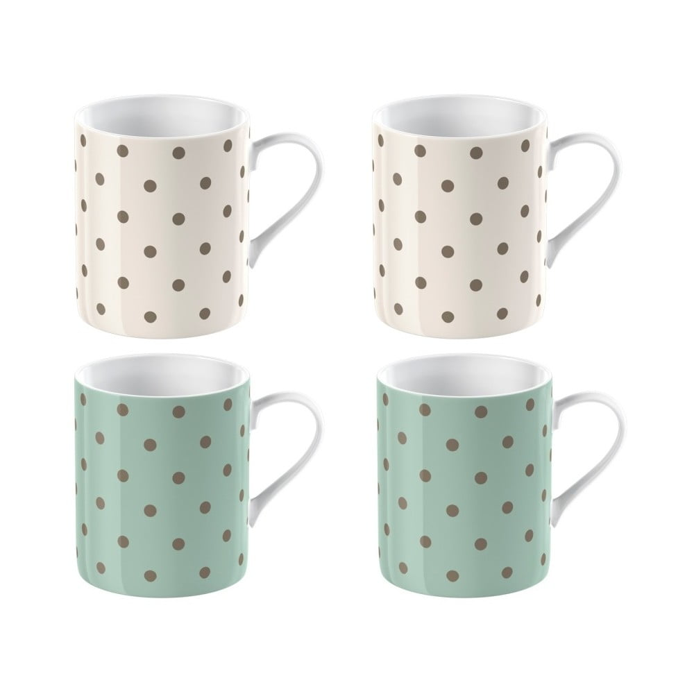 Sada 4 porcelánových hrnčekov na espresso Creative Tops Cottage Flowers, 60 ml