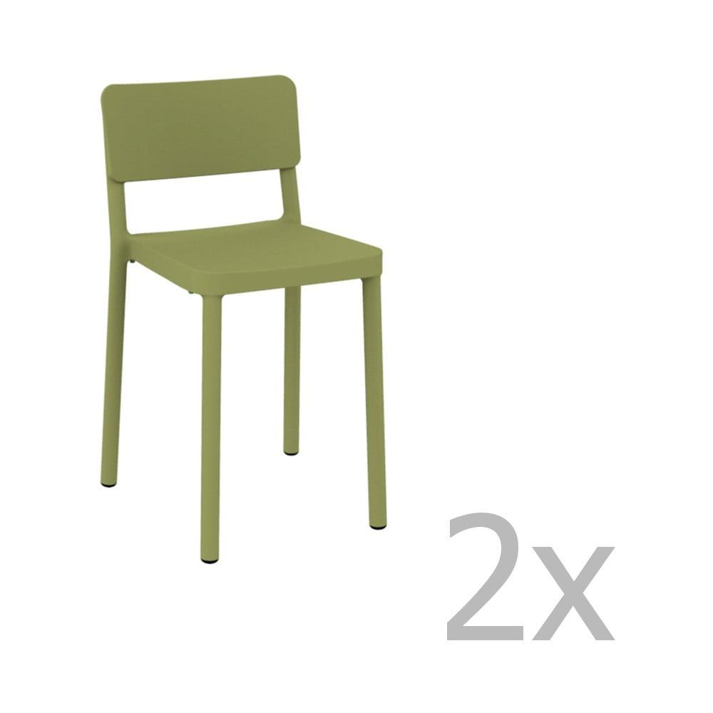 Sada 2 zelených barových stoličiek vhodných do exteriéru Resol Lisboa, výška 72,9 cm