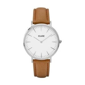 Dámske hodinky s hnedým koženým remienkom a detaily v striebornej farbe Cluse La Bohéme