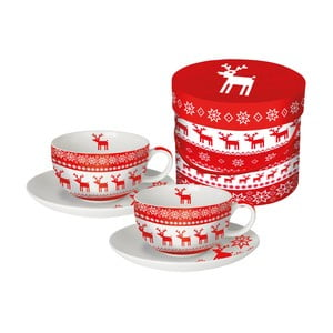 Sada 2 porcelánových hrnčekov na cappuccino s vianočným motívom v darčekovom balení PPD Magic Rojo Christmas, 200 ml