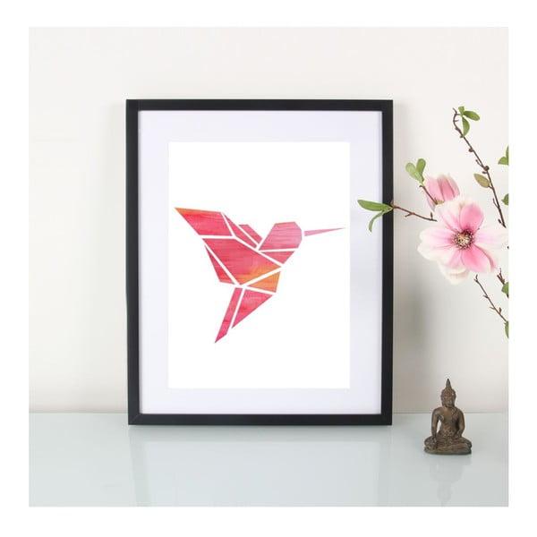 Plagát Origami Kolibri Pink, A3