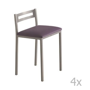 Sada 4 nízkych fialových barových stoličiek Pondecor Elias