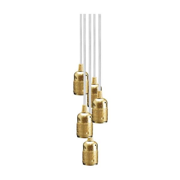 Závesné svietidlo s 5 bielymi káblami a zlatou objímkou Bulb Attack Uno Group