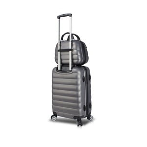 Sada sivého cestovného kufra na kolieskach s USB portom a príručného kufríka My Valice RESSNO MU & Cabin