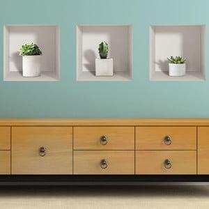 Sada 3 3D samolepiek na stenu Ambiance Cactus