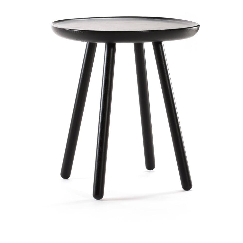 Čierny odkladací stolík z masívu EMKO Naïve, ø 45 cm