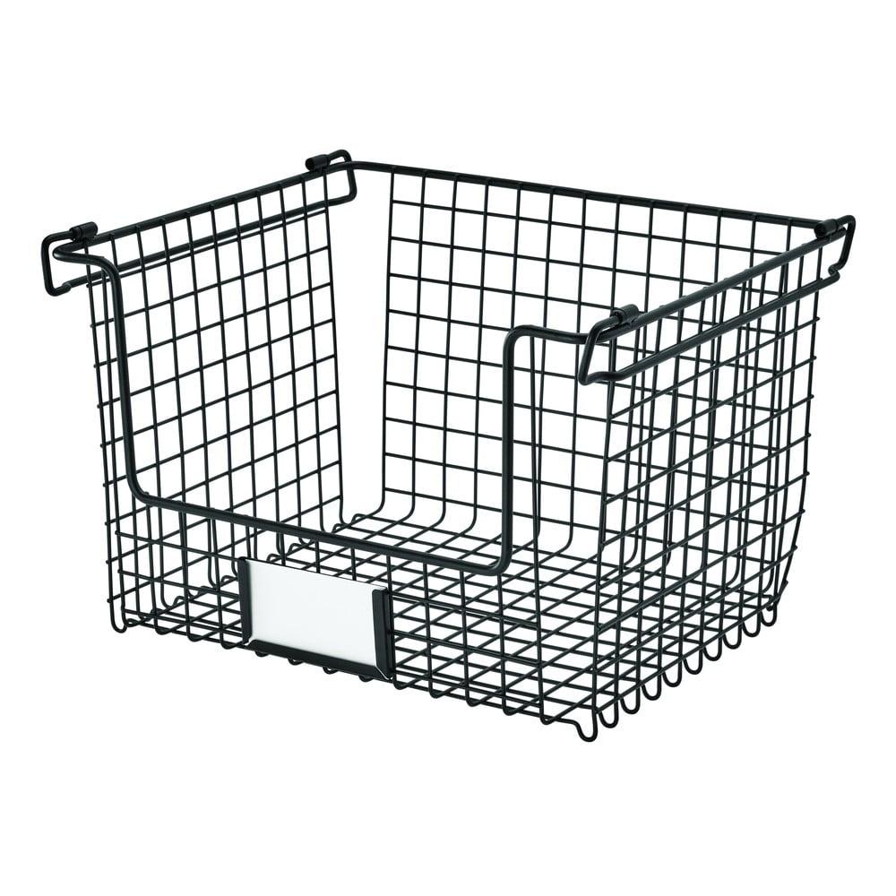 Čierny kovový košík iDesign Classico, 31 x 25,5 cm
