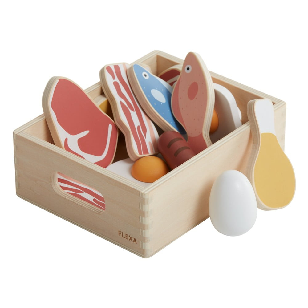 Drevený detský hrací set Flexa Toys Fish & meat