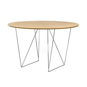 Jedálenský stôl v dekore dubového dreva s pochrómovaným podnožím TemaHome Row, Ø120 cm