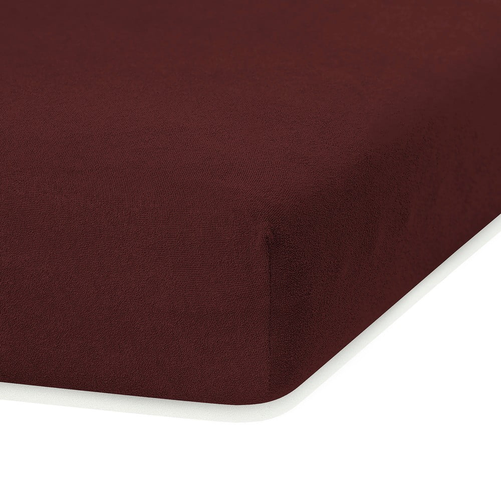 Tmavohnedá elastická plachta s vysokým podielom bavlny AmeliaHome Ruby, 200 x 160-180 cm