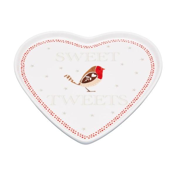 Servírovací tanier v tvare srdca Little Red Robin