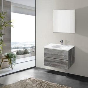 Kúpeľňová skrinka s umývadlom a zrkadlom Flopy, vintage dekor, 70 cm