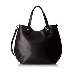 Čierna kožená kabelka Chicca Borse Denisse