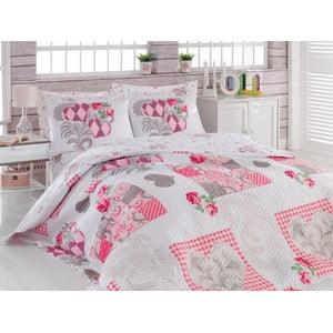 Sada prešívanej prikrývky na posteľ a dvoch obliečok na vankúe Four, 220x230 cm