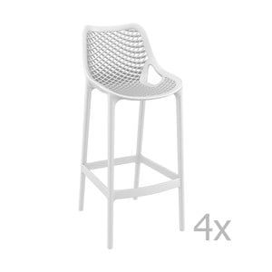 Sada 4 bielych barových stoličiek Resol Grid Simple, výška 75 cm