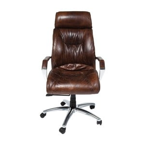 Hnedá kancelárska kožená stolička Kare Design Cigar