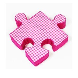 Růžový polštářek Puzzle Grid