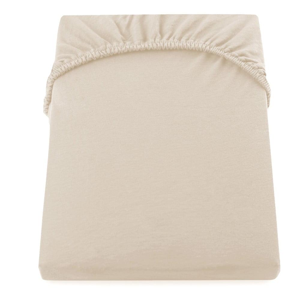 Béžová elastická bavlnená plachta DecoKing Amber Collection, 180 - 200 × 200 cm