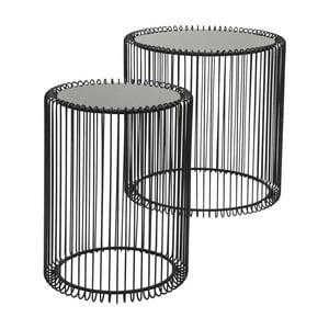 Sada 2 čiernych odkladacích stolíkov Kare Design Wire High