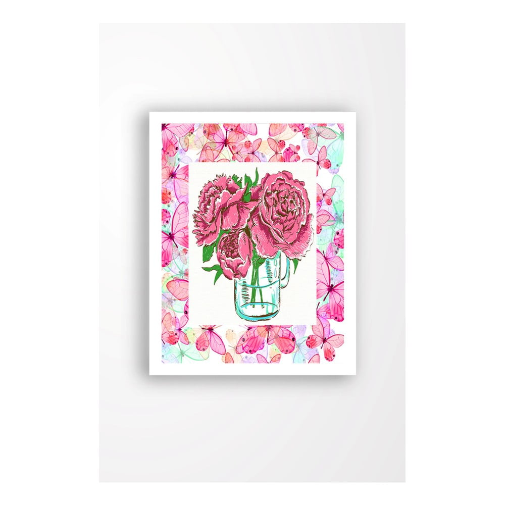 Nástenný obraz na plátne v bielom ráme Tablo Center Cut Roses, 29 × 24 cm