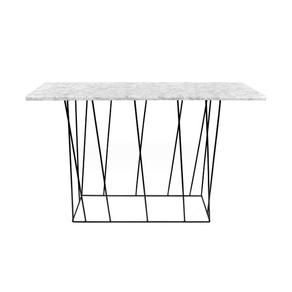 Biely mramorový konzolový stolík s čiernymi nohami TemaHome Helix