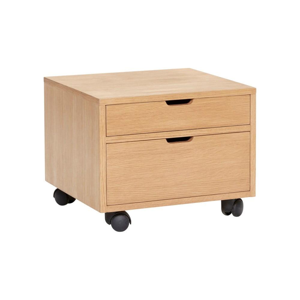 Pojazdný úložný box na kolieskach Hübsch Oak Wooden Box